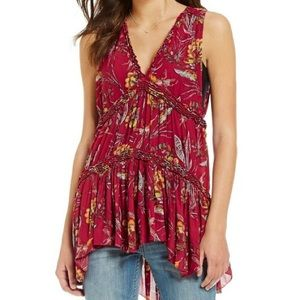 """Free People Red, Floral """"Purple Haze"""" Tunic"""